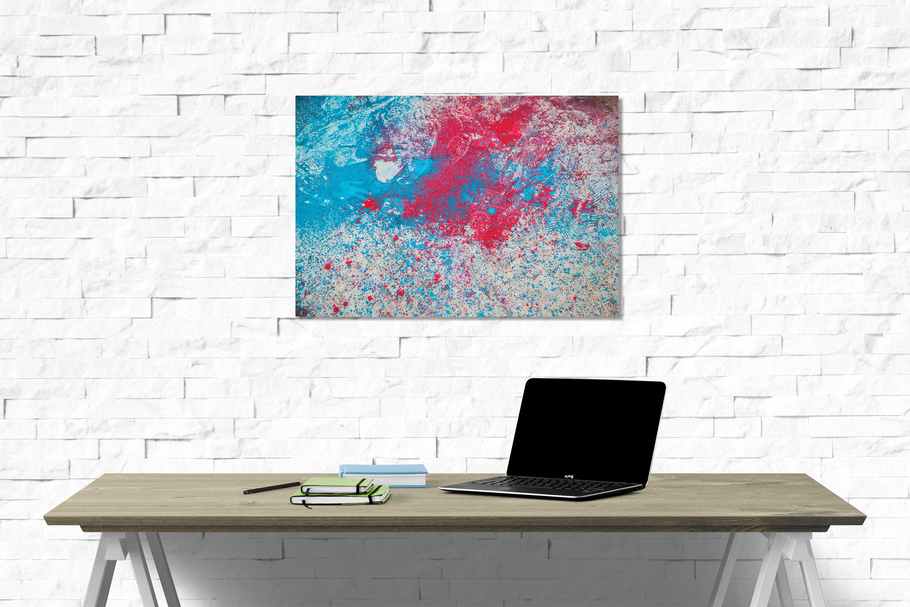 Abstract canvas on wall