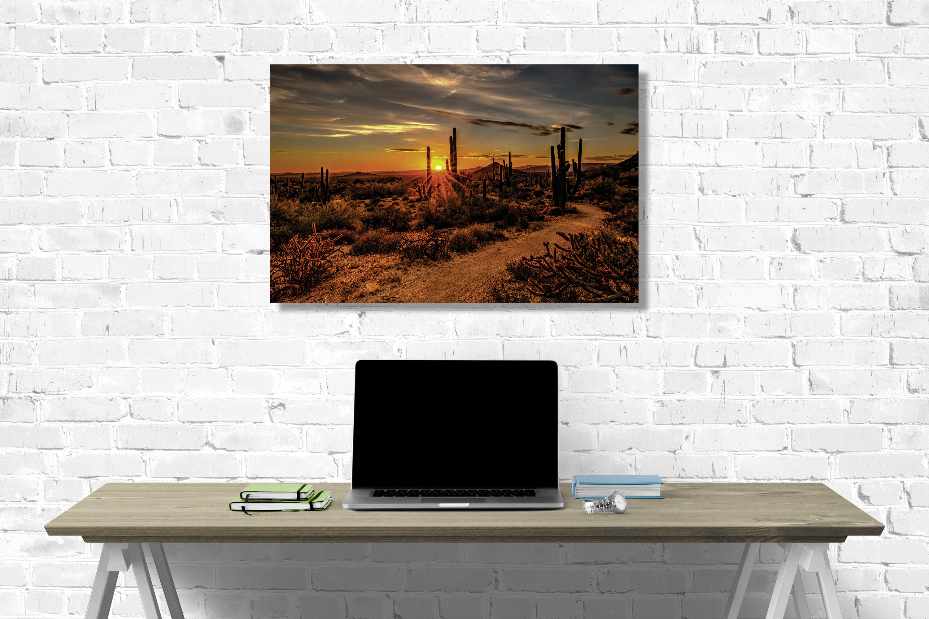 landscape canvas on wall