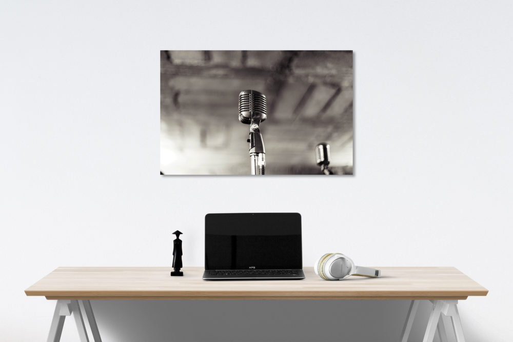 microphone canvas on wall