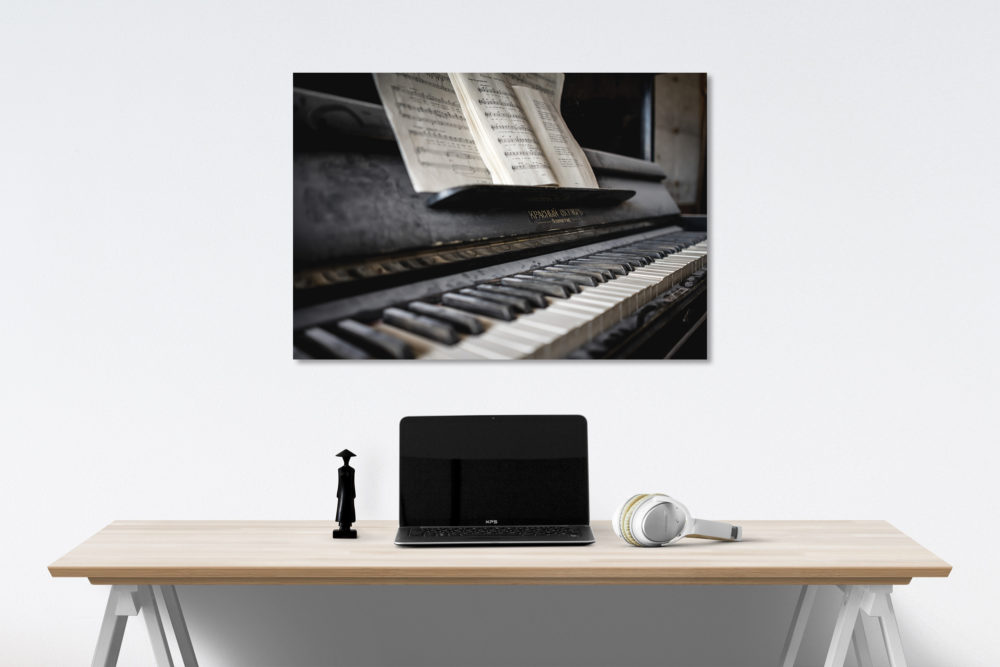 piano canvas on wall