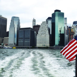 American Flag with Lower Manhattan Skyline