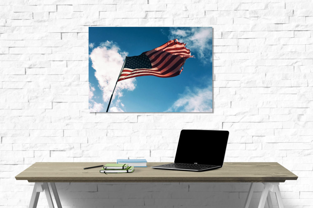 American flag canvas on wall