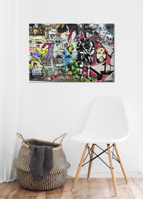 pop art canvas on wall