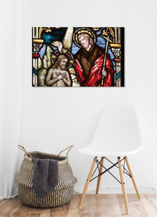 stained glass canvas on wall