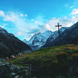 cross on mountains