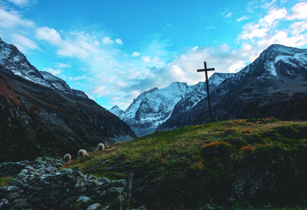 cross on mountains
