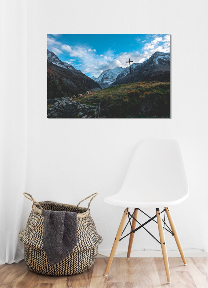 Cross in the mountains canvas on wall