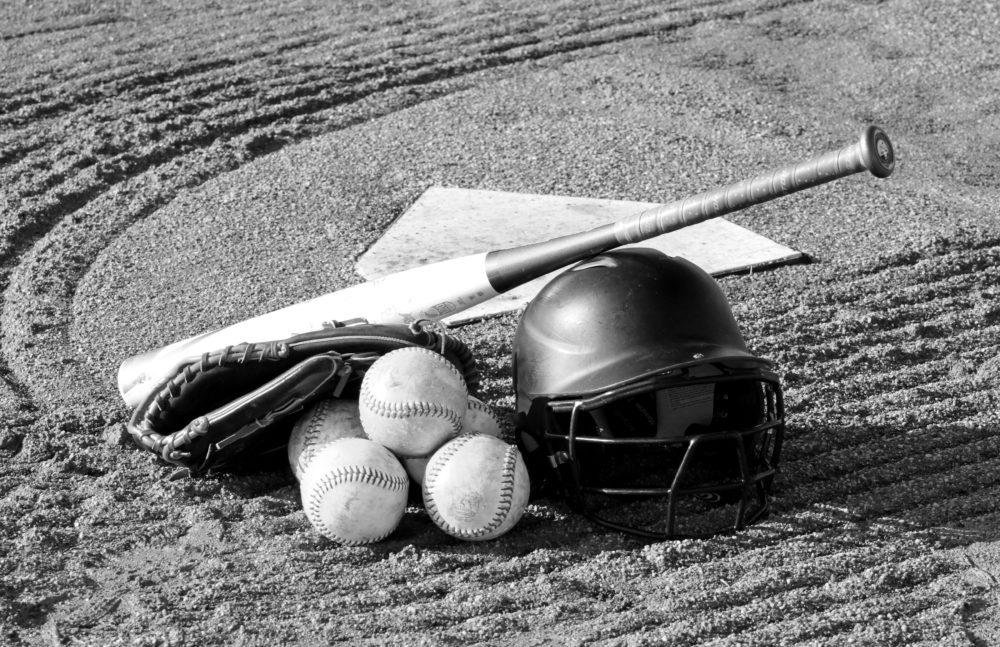 Pile of baseball equipment