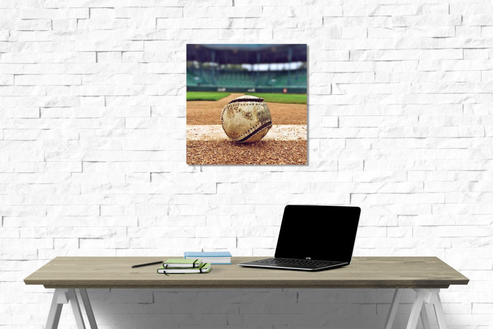 Old Baseball on field canvas on Wall
