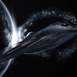 Futuristic Spaceship above earth